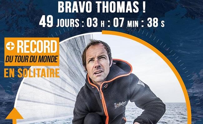 Le record du monde en solitaire à la voile battu par Coville en 2016.